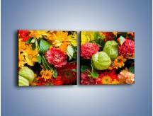 Obraz na płótnie – Bukiet pełen soczystych kolorów – dwuczęściowy kwadratowy poziomy K461