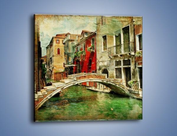 Obraz na płótnie – Mostek nad kanałem w Wenecji vintage – jednoczęściowy kwadratowy AM688