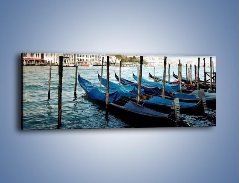 Obraz na płótnie – Zacumowane weneckie gondole – jednoczęściowy panoramiczny AM375
