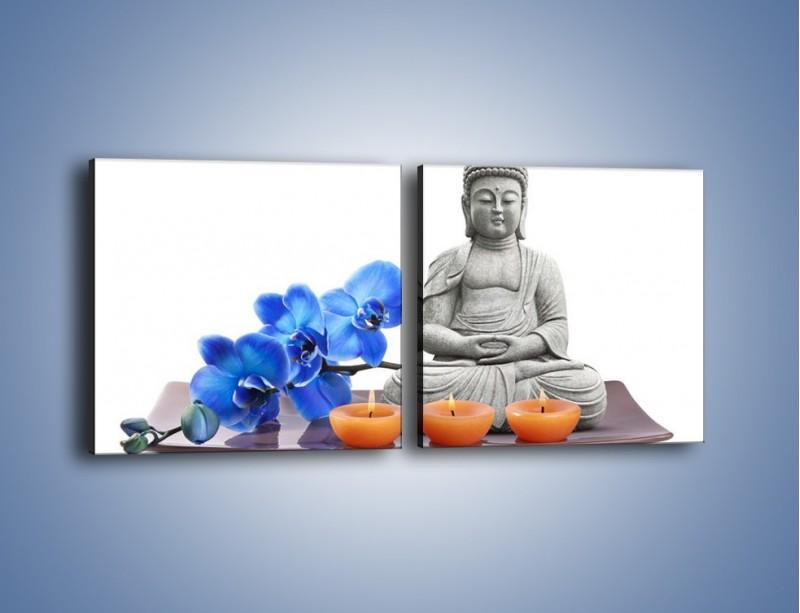 Obraz na płótnie – Budda i kwiat – dwuczęściowy kwadratowy poziomy K593
