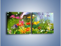 Obraz na płótnie – Bańkowy świat kwiatów – dwuczęściowy kwadratowy poziomy K691