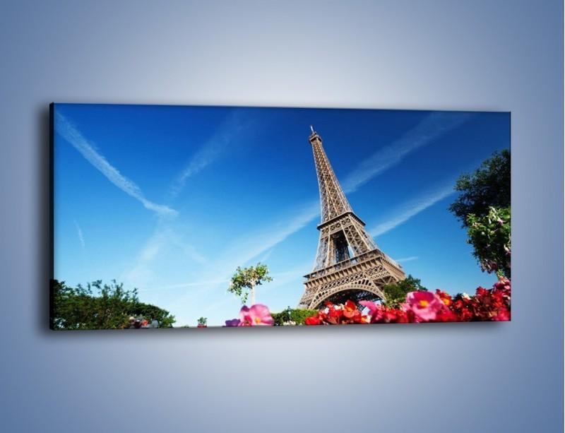 Obraz na płótnie – Wieża Eiffla pod błękitnym niebem – jednoczęściowy panoramiczny AM379