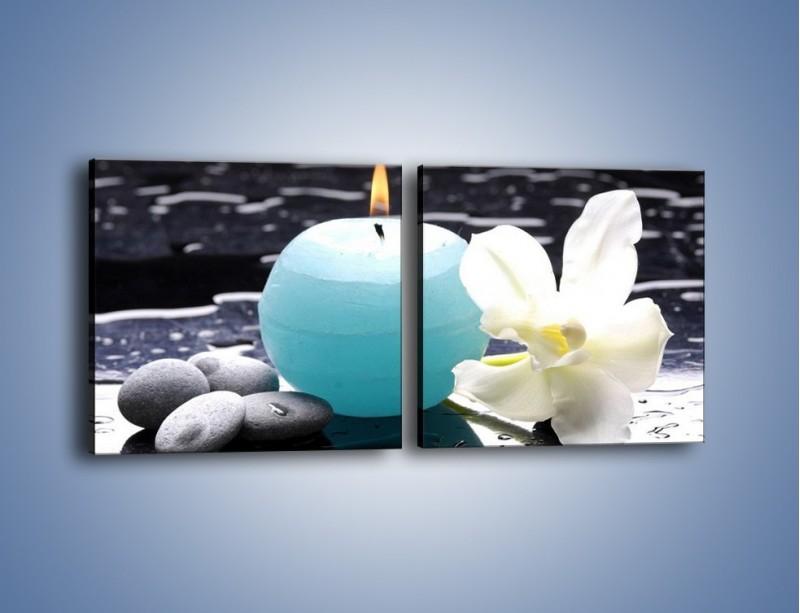 Obraz na płótnie – Błękit świecy z kwiatem – dwuczęściowy kwadratowy poziomy K887