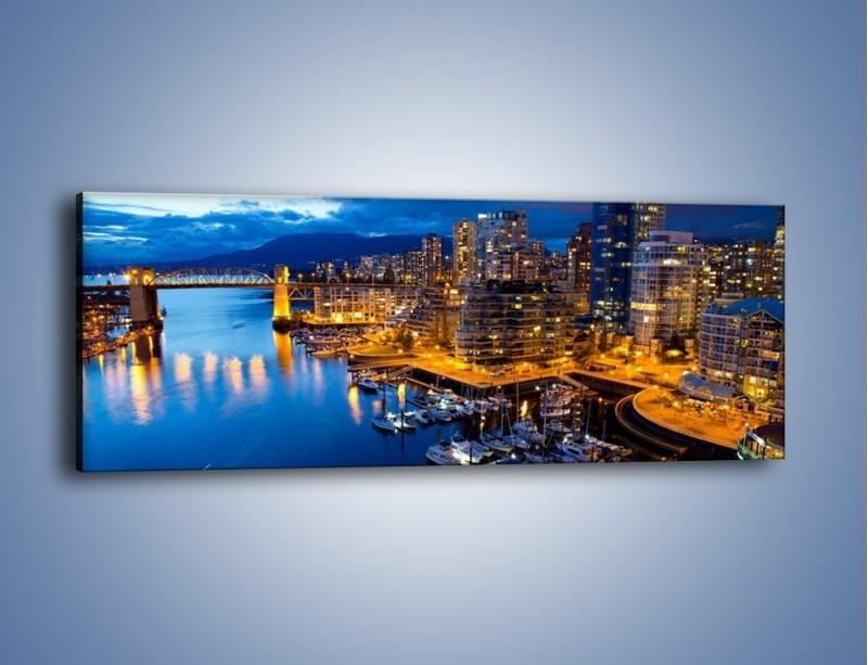 Obraz na płótnie – Zapadająca noc nad Vancouver – jednoczęściowy panoramiczny AM384