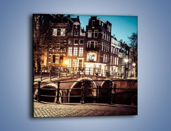 Obraz na płótnie – Ulice Amsterdamu wieczorową porą – jednoczęściowy kwadratowy AM693