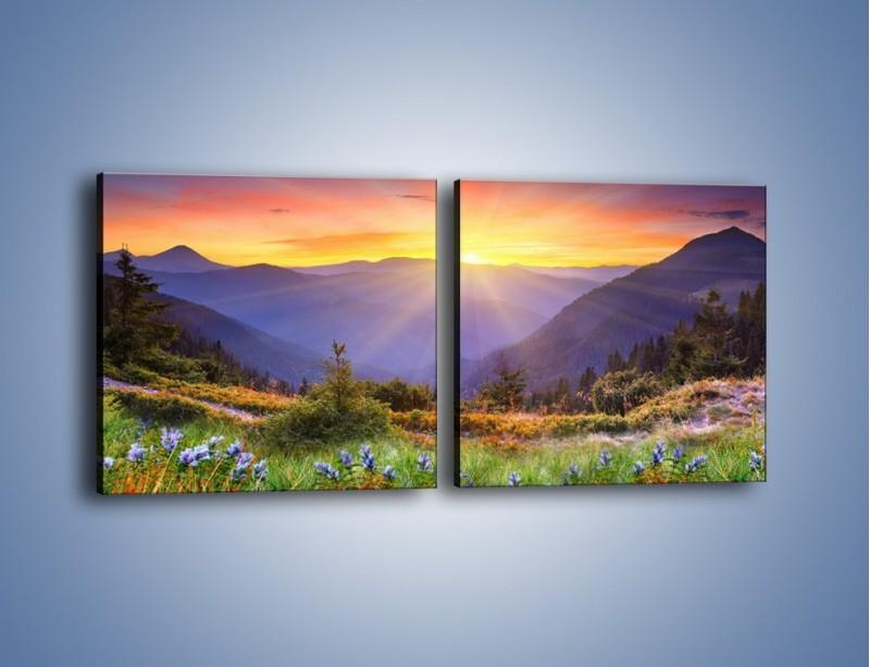 Obraz na płótnie – Góry o zachodzie słońca – dwuczęściowy kwadratowy poziomy KN014
