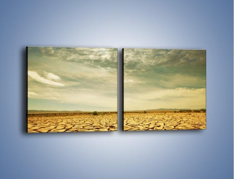 Obraz na płótnie – Ciemne chmury nad popękaną ziemią – dwuczęściowy kwadratowy poziomy KN025