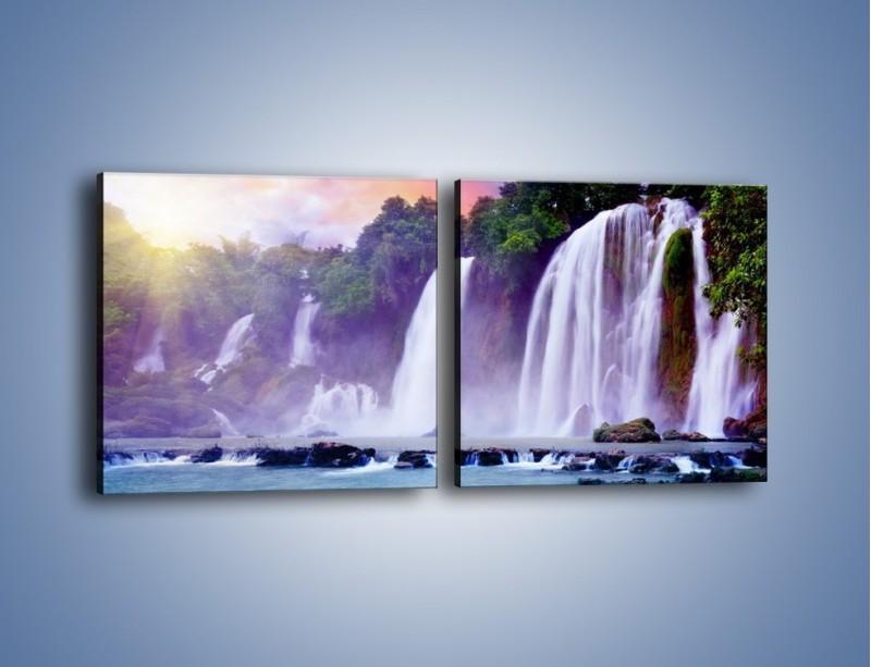 Obraz na płótnie – Wodospady jak z bajki – dwuczęściowy kwadratowy poziomy KN026