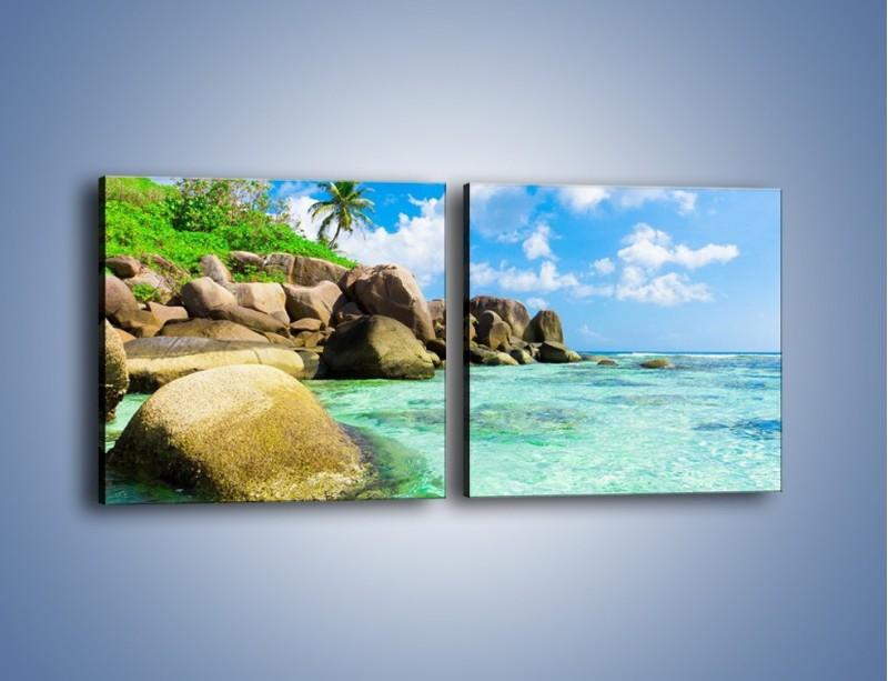 Obraz na płótnie – Lazurowa woda w tropikach – dwuczęściowy kwadratowy poziomy KN035