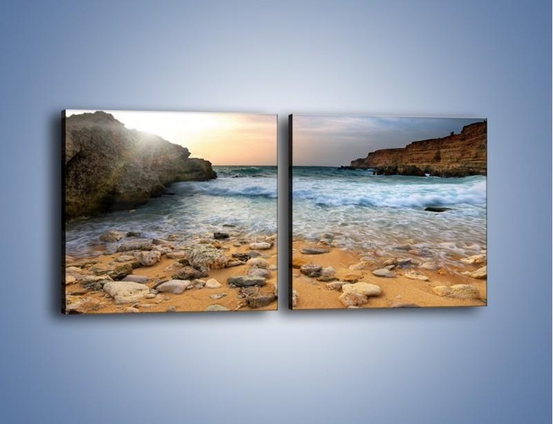 Obraz na płótnie – Kamienista plaża o poranku – dwuczęściowy kwadratowy poziomy KN043