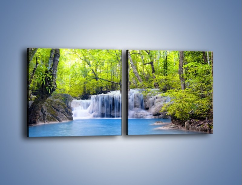 Obraz na płótnie – Mały leśny wodospad – dwuczęściowy kwadratowy poziomy KN057