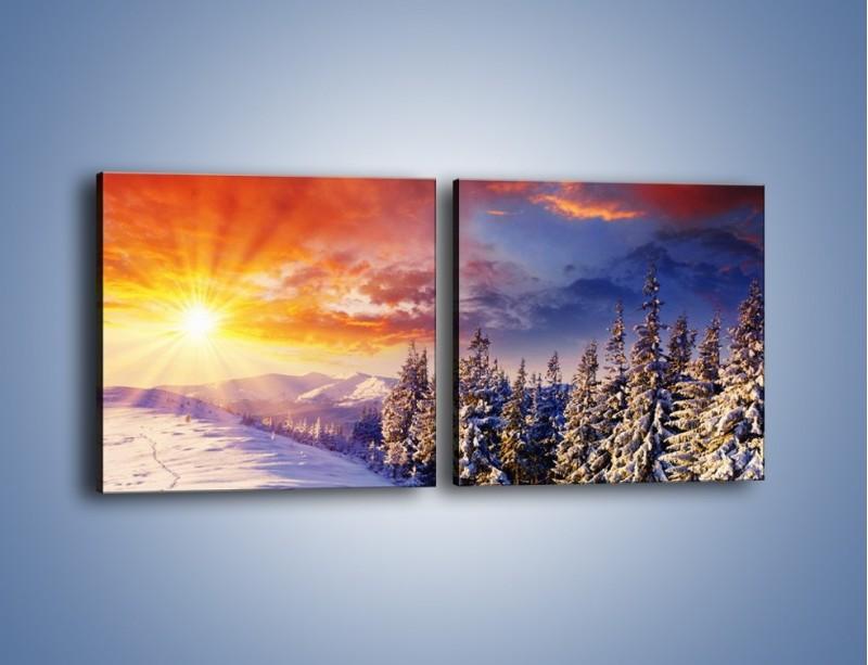 Obraz na płótnie – Urok zimowej pary – dwuczęściowy kwadratowy poziomy KN098