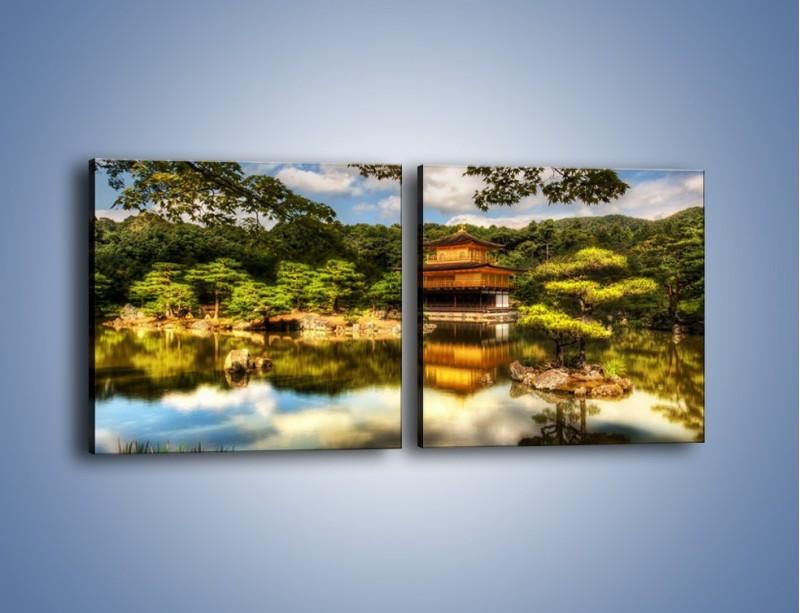 Obraz na płótnie – Widok z domu na wodę – dwuczęściowy kwadratowy poziomy KN1030