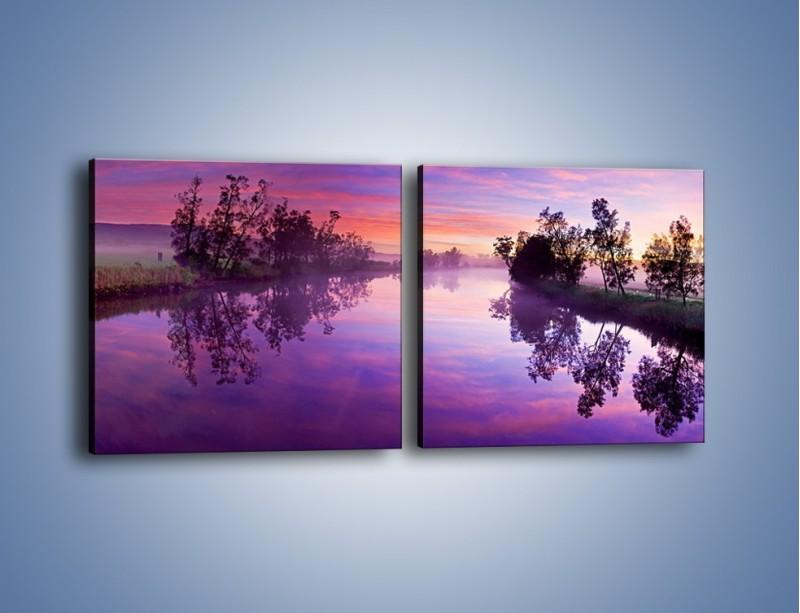 Obraz na płótnie – Fiolet w wodzie i na niebie – dwuczęściowy kwadratowy poziomy KN1046