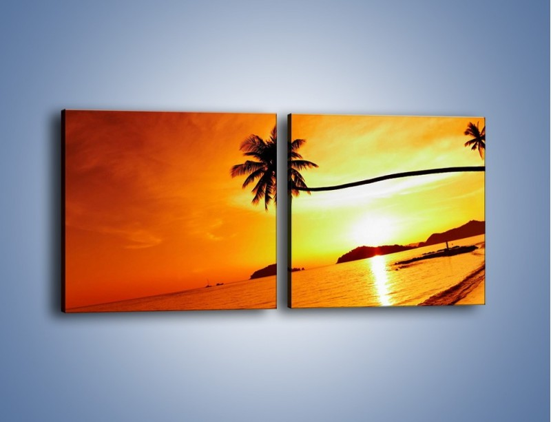 Obraz na płótnie – Palma o zachodzie słońca – dwuczęściowy kwadratowy poziomy KN1077