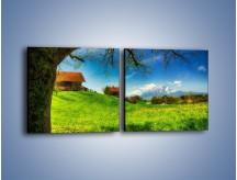 Obraz na płótnie – Chatki na polanie – dwuczęściowy kwadratowy poziomy KN1085A
