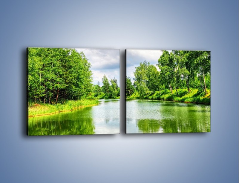 Obraz na płótnie – Spokojna woda i las – dwuczęściowy kwadratowy poziomy KN1086