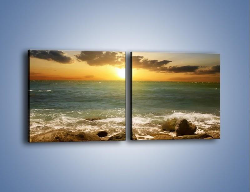 Obraz na płótnie – Brzegiem w stronę morza – dwuczęściowy kwadratowy poziomy KN1092A