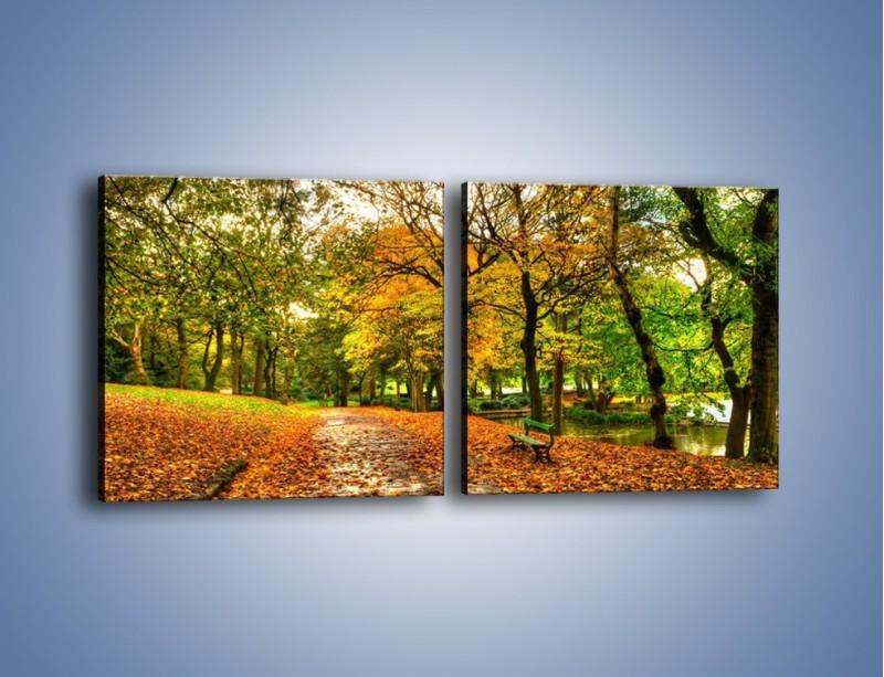 Obraz na płótnie – Piękna jesień w parku – dwuczęściowy kwadratowy poziomy KN1098A