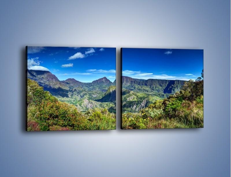 Obraz na płótnie – Zieleń ukryta wysoko w górach – dwuczęściowy kwadratowy poziomy KN1106