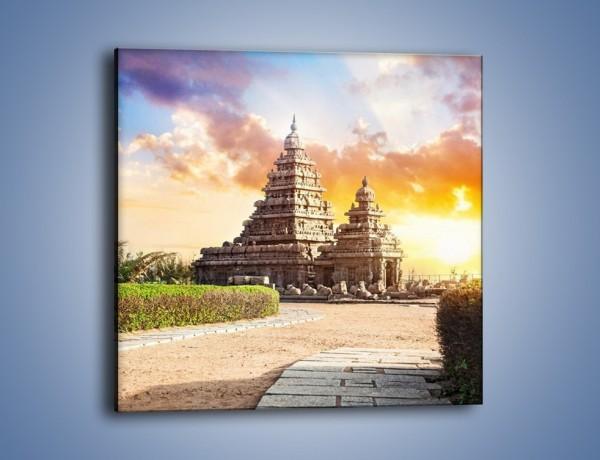 Obraz na płótnie – Świątynia Śiwy o zachodzie słońca – jednoczęściowy kwadratowy AM696