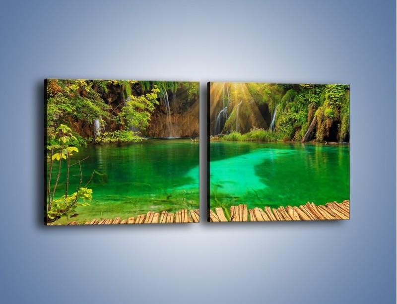 Obraz na płótnie – Zielone oczko wodne i drewno – dwuczęściowy kwadratowy poziomy KN1149A