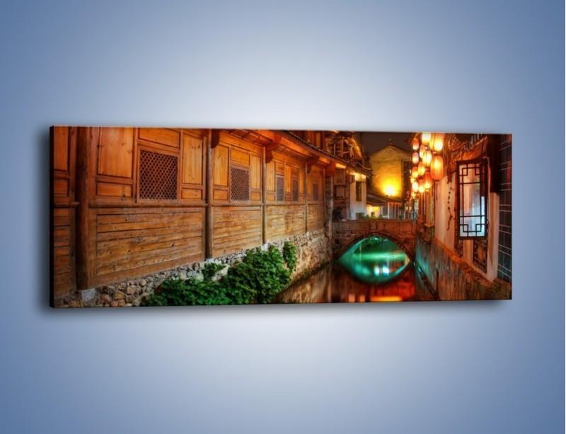 Obraz na płótnie – Kanał w chińskim mieście Lijiang – jednoczęściowy panoramiczny AM391