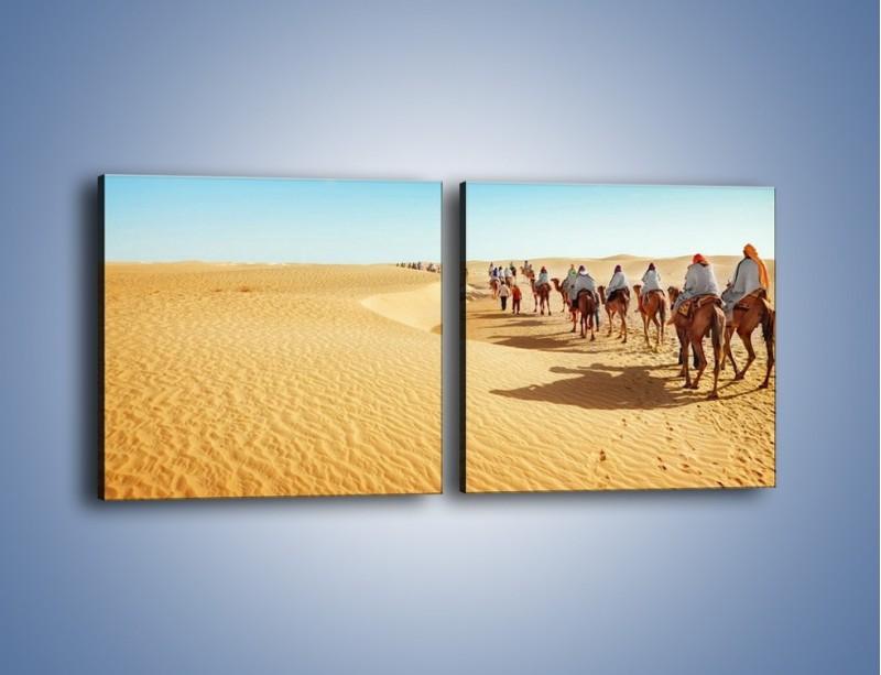 Obraz na płótnie – Szła karawana przez pustynię – dwuczęściowy kwadratowy poziomy KN1173A