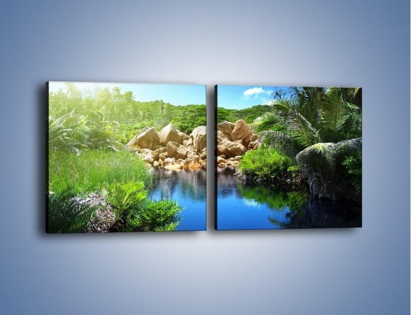 Obraz na płótnie – Wapienne skałki na wodzie – dwuczęściowy kwadratowy poziomy KN1188A