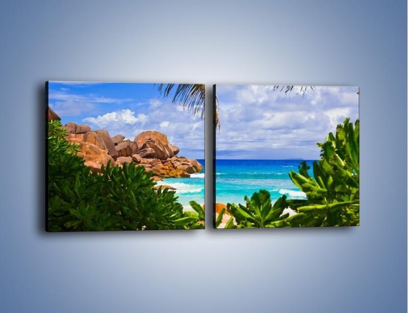 Obraz na płótnie – Urlop pod palmami – dwuczęściowy kwadratowy poziomy KN1191A