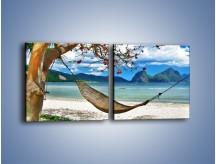 Obraz na płótnie – A może by odpocząć na hamaku? – dwuczęściowy kwadratowy poziomy KN1199A