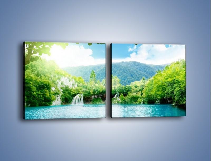 Obraz na płótnie – Kąpiel w chłodnej wodzie – dwuczęściowy kwadratowy poziomy KN1200A