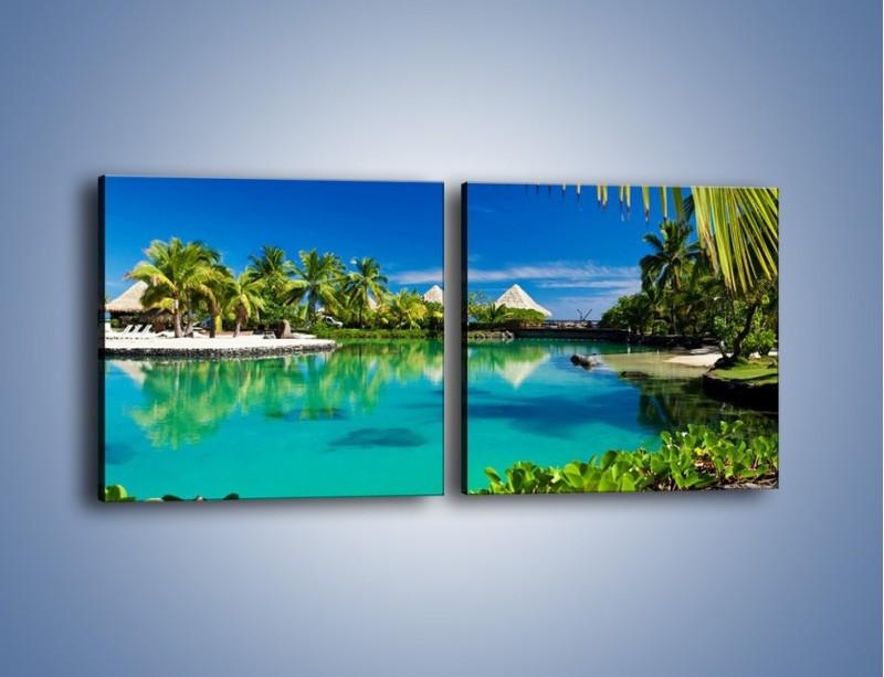 Obraz na płótnie – Biały piasek i palmy – dwuczęściowy kwadratowy poziomy KN1201A