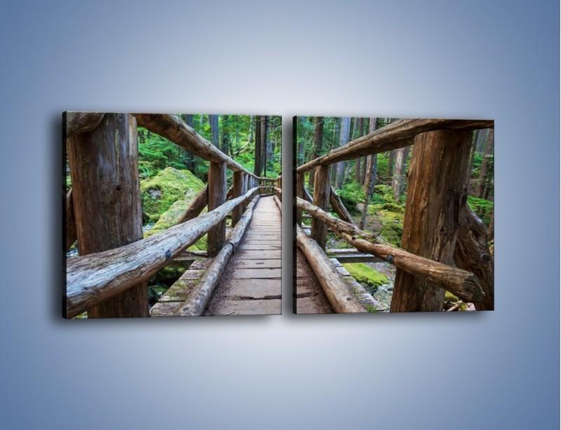 Obraz na płótnie – Mostek z drewnianych bali – dwuczęściowy kwadratowy poziomy KN1207A