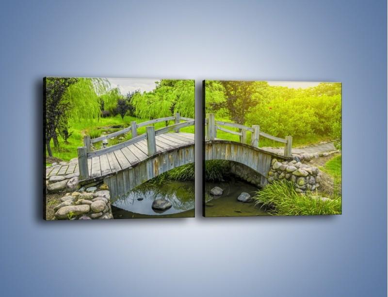 Obraz na płótnie – Mały mostek przez rzeczkę – dwuczęściowy kwadratowy poziomy KN1254A