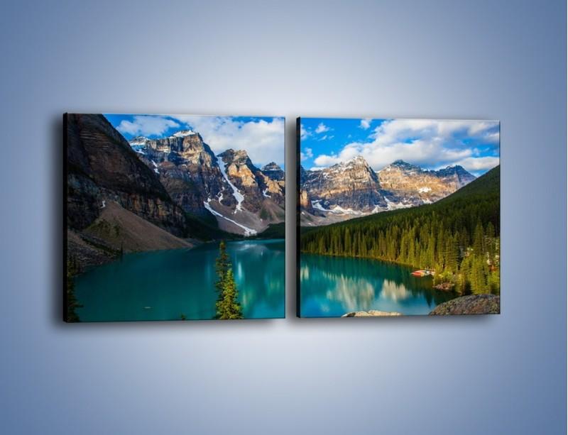 Obraz na płótnie – Spokój w górach – dwuczęściowy kwadratowy poziomy KN1258A