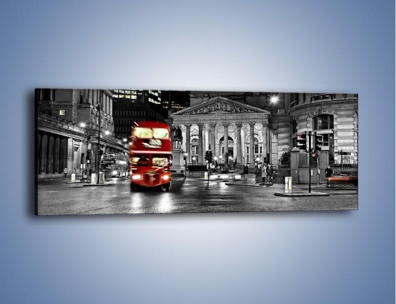 Obraz na płótnie – Czerwony autobus w Londynie – jednoczęściowy panoramiczny AM395