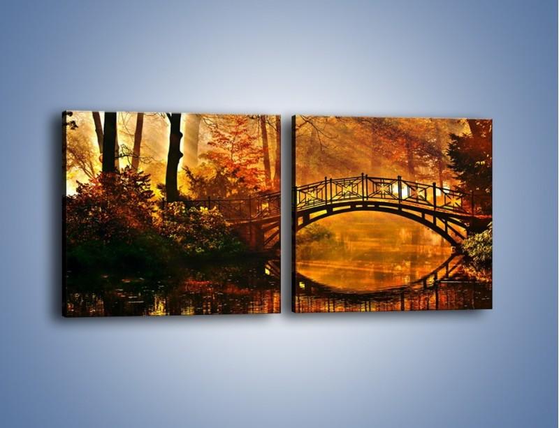 Obraz na płótnie – Cudowny spacer jesienną porą – dwuczęściowy kwadratowy poziomy KN1319A