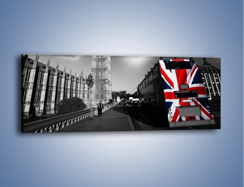 Obraz na płótnie – Big Ben i autobus z flagą UK – jednoczęściowy panoramiczny AM396