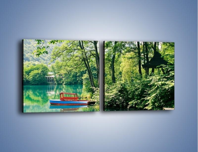 Obraz na płótnie – Wakacje nad jeziorem – dwuczęściowy kwadratowy poziomy KN155