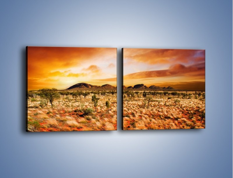 Obraz na płótnie – Oaza w kolorach ognistej ziemi – dwuczęściowy kwadratowy poziomy KN192