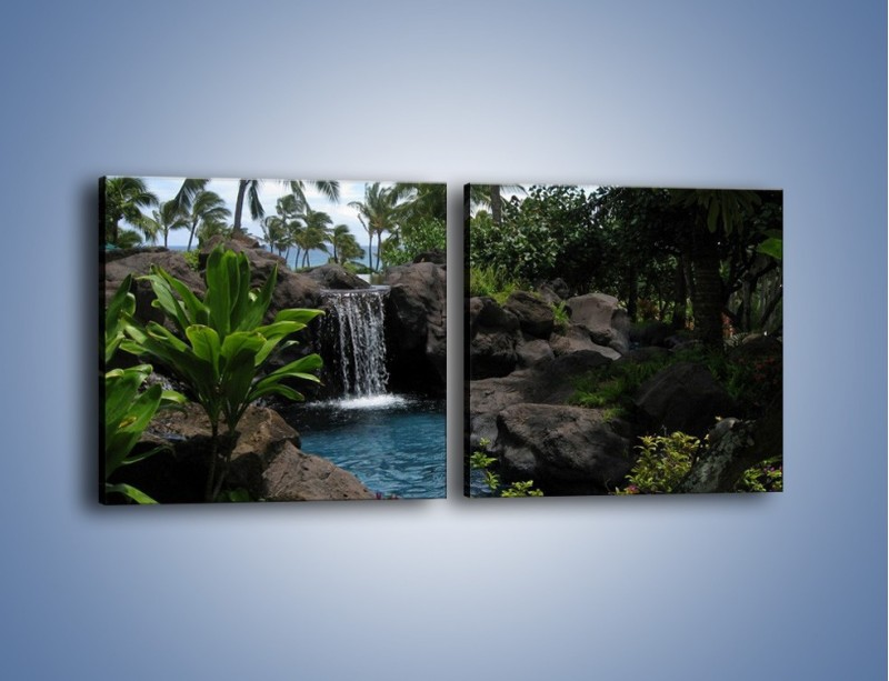 Obraz na płótnie – Wodospad wśród palm – dwuczęściowy kwadratowy poziomy KN208