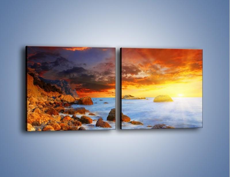 Obraz na płótnie – Słońce odbite w kamieniach – dwuczęściowy kwadratowy poziomy KN267