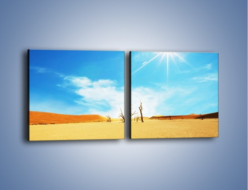 Obraz na płótnie – Błękit nieba i słońce w ziemi – dwuczęściowy kwadratowy poziomy KN331