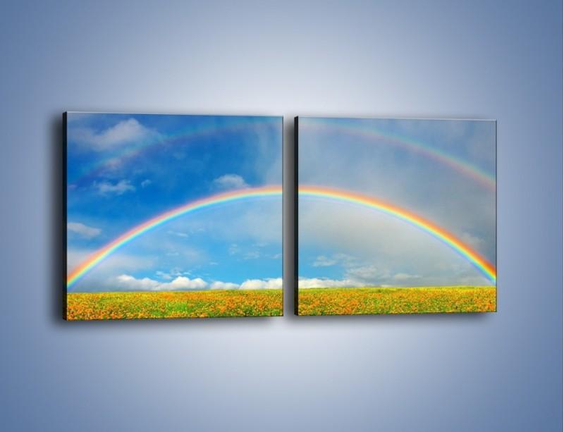 Obraz na płótnie – Urok kolorowej tęczy – dwuczęściowy kwadratowy poziomy KN406