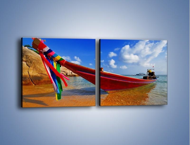 Obraz na płótnie – Kolorowa łódź na brzegu – dwuczęściowy kwadratowy poziomy KN415
