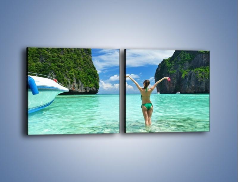 Obraz na płótnie – Udane wakacje w ciepłych krajach – dwuczęściowy kwadratowy poziomy KN530
