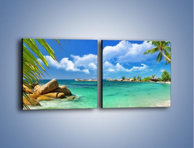 Obraz na płótnie – Tropikalna wyspa z katalogu – dwuczęściowy kwadratowy poziomy KN565
