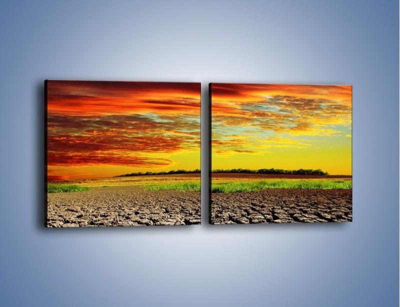 Obraz na płótnie – Spękane chmury i ziemia – dwuczęściowy kwadratowy poziomy KN602
