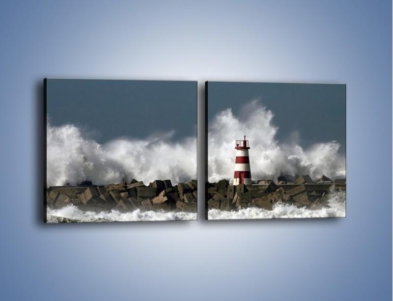 Obraz na płótnie – Latarnia morska w sztormie – dwuczęściowy kwadratowy poziomy KN626
